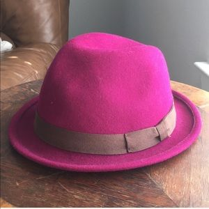 Accessories - Magenta wool fedora hat